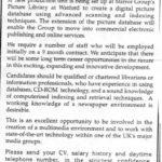 Job Advert as shown at the university